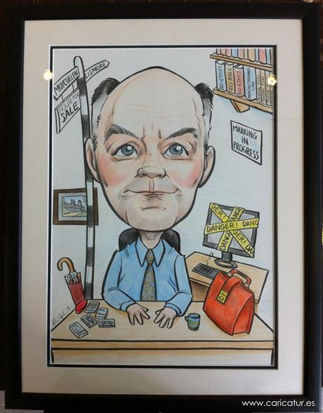 Retirement caricature by Allan Cavanagh, Caricatures Ireland