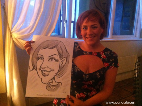 Woman laughing with caricature by Allan Cavanagh