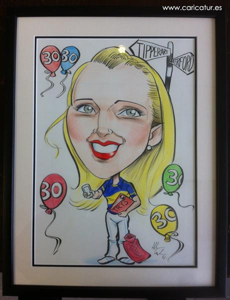 Framed caricature birthday present