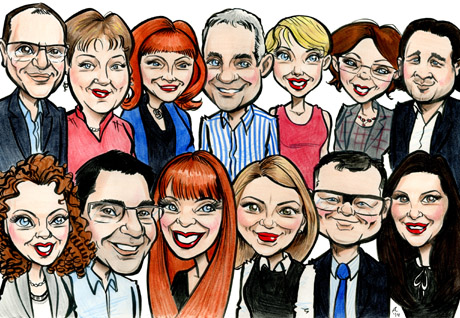moving away gift ideas group caricature