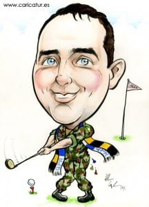 Golf caricature for Captain's Day by Allan Cavanagh, Caricatures Ireland
