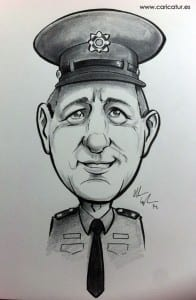 Caricature of a Guard by Allan Cavanagh Irish cartoonist