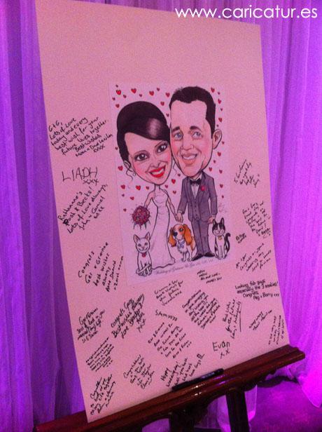 Caricature Wedding Signing Board by Allan Cavanagh