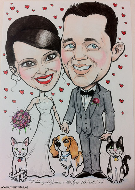 Caricature of Bride and Groom by Allan Cavanagh Caricatures Ireland
