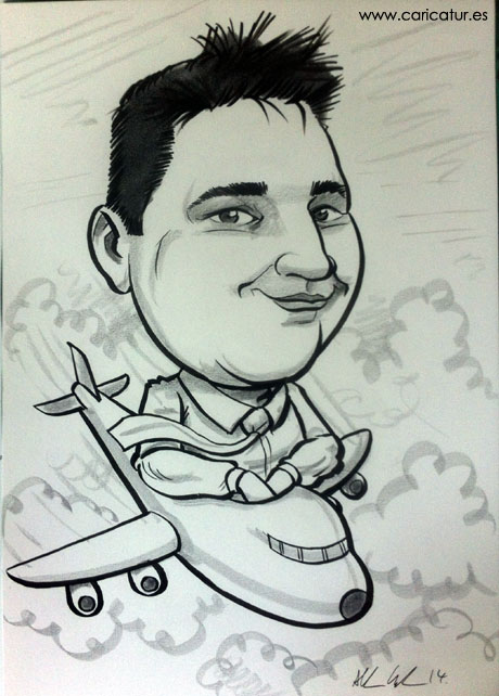 Black and white caricature of a man in a plane for a birthday present by Irish caricaturist Allan Cavanagh