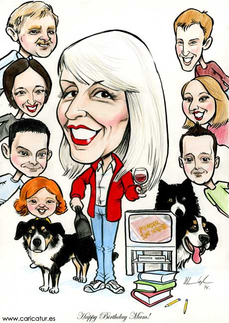Smiling woman surrounded by her family in a caricature by Irish cartoonist Allan Cavanagh