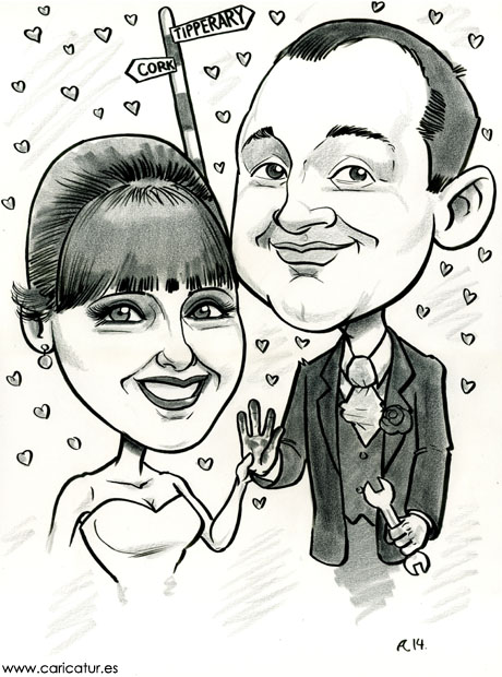 Black and white caricature wedding gift by Allan Cavanagh, Caricatures Ireland