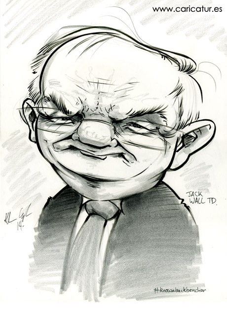 Caricature of Labour TD Jack Wall by Allan Cavanagh Caricatures Ireland