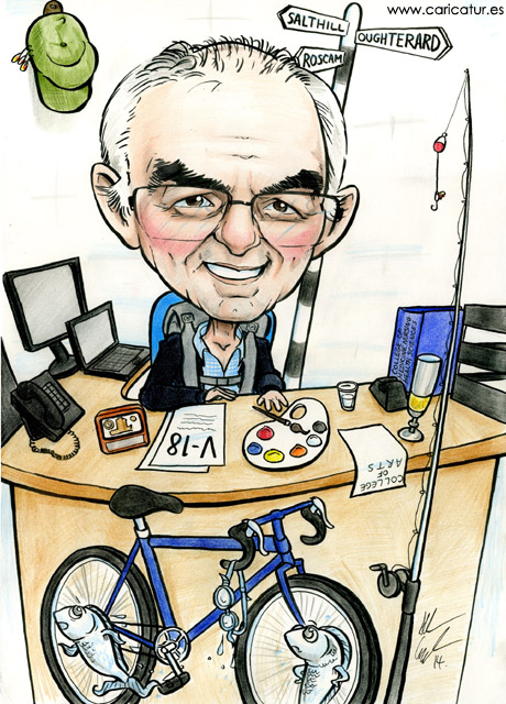 Caricature for retirement gift by Artist Allan Cavanagh