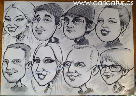 Caricature family portrait by Allan Cavanagh