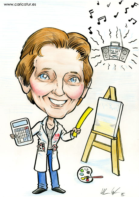 Caricature of woman with easel by Allan Cavanagh Irish cartoonist