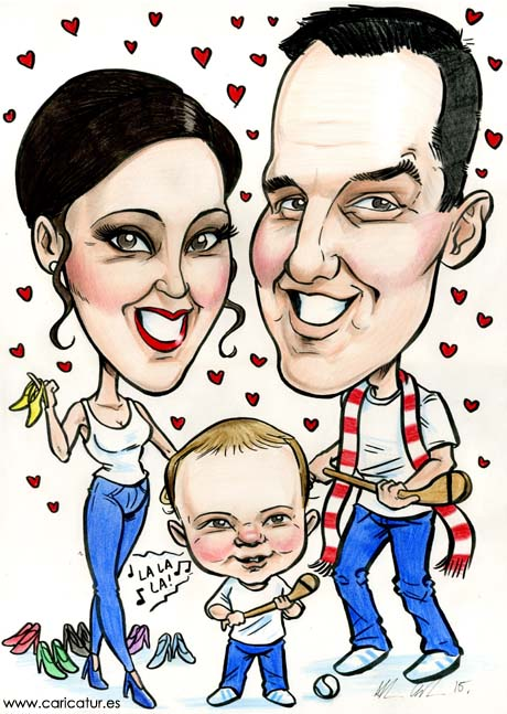 A caricature of a family by artist Allan Cavanagh