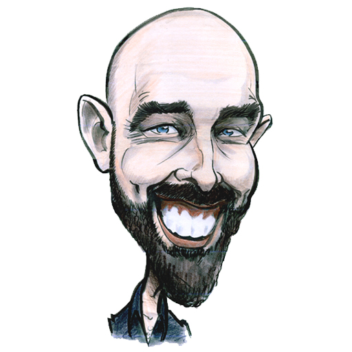 Self-portrait of caricature artist Allan Cavanagh