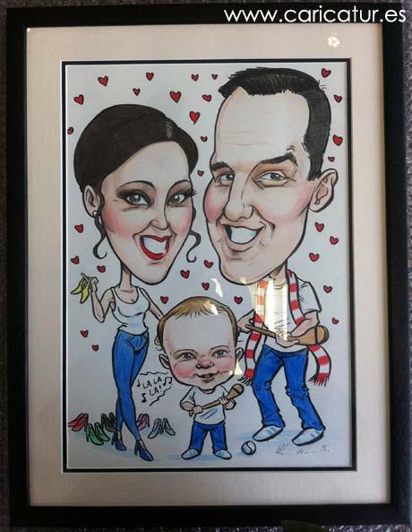 Framed caricature art of a family by Irish caricature artist Allan Cavanagh