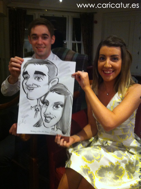 wedding guests with caricatures by Allan Cavanagh