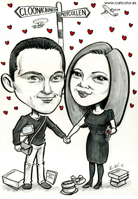 Black and white caricature of married couple with signpost and lovehearts