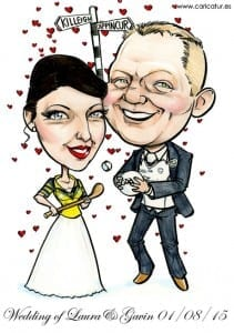 Wedding Caricature Signing Board by Allan Cavanagh