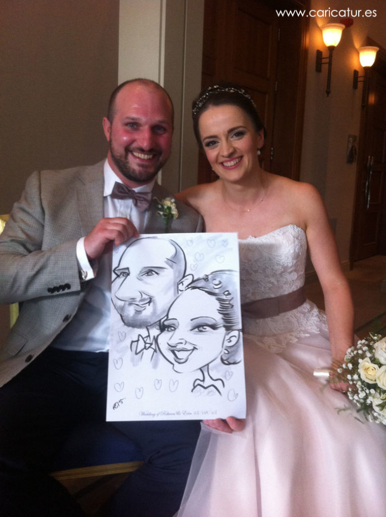Caricature of newly married couple in Druid's Glen Hotel by Allan Cavanagh