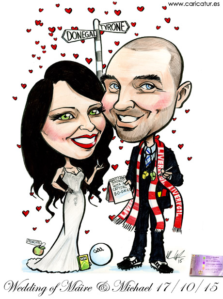 Wedding caricature of couple in Ireland