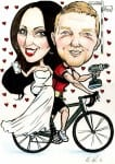 Cartoon caricature of couple on a bike with power tools and mobile phone by Irish caricature artist Allan Cavanagh