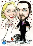 Cartoon caricature of newly married couple with engine and kettle bells