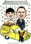Caricature of married couple with van from Only Fools and Horses