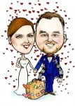 Wedding caricature of couple by Irish artist Allan Cavangh