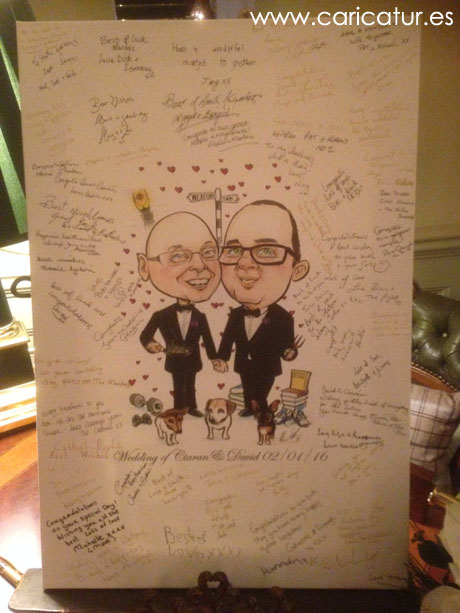 Caricature of newly married couple with guests' signatures