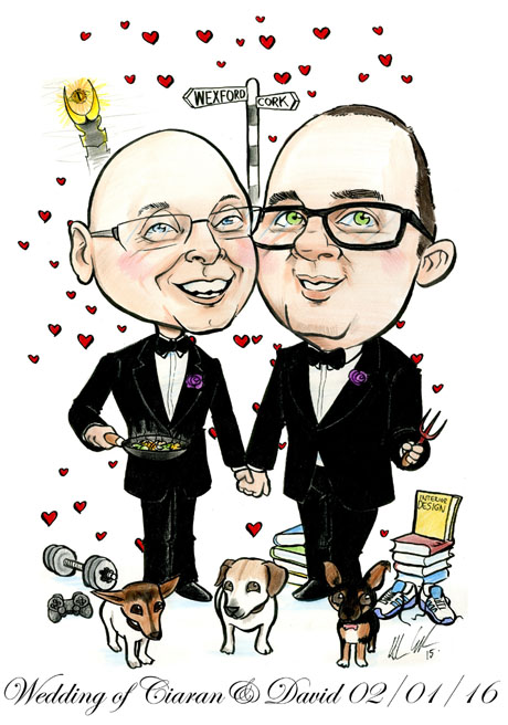 Lord of the Rings interior design caricature for wedding by Allan Cavanagh, Caricatures Ireland