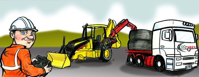 Cartoon artwork of tyre changing machine