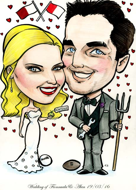 caricature for wedding signing board delivery all over Ireland