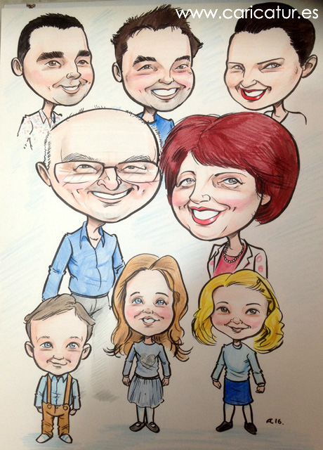A caricature of grandparents, their children, and grandchildren, by Allan Cavanagh Caricatures Ireland
