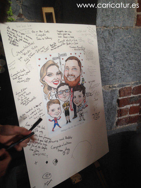 Wedding caricature signing board by Allan Cavanagh Caricatures Ireland