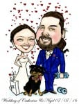 Bride and groom cartoon with pet dog by Allan Cavanagh