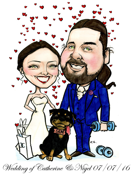 Bride and groom cartoon with Rottweiler caricature by Allan Cavanagh