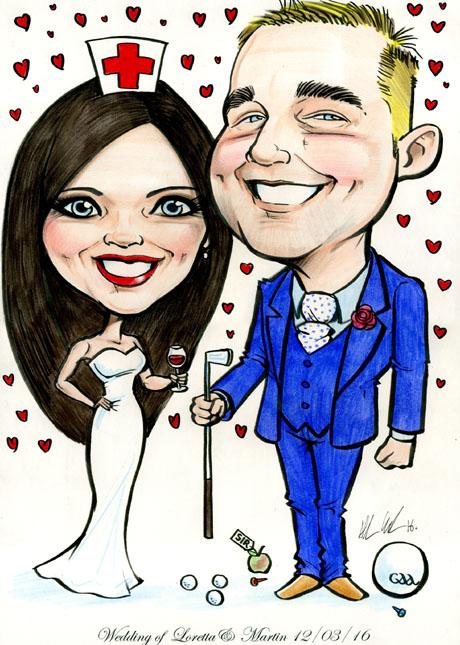 Wedding Cartoon Bride Groom Nurse Teacher Caricatures Ireland By