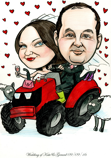 Caricature of Irish bride and groom on tractor with handbag and makeup