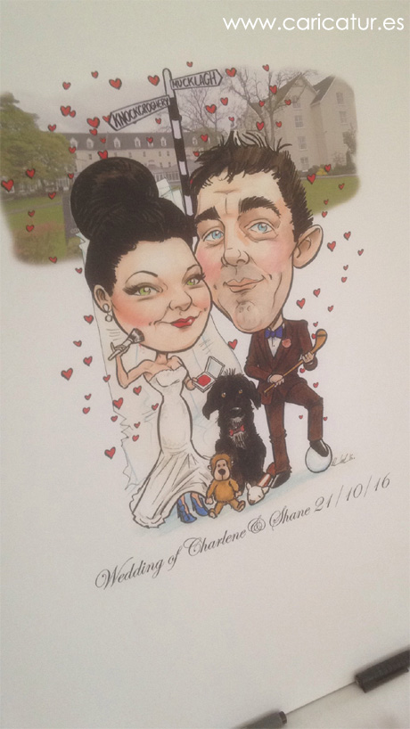 Colour caricature of beauty therapist and hurler with their pet dog
