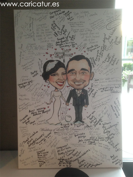 Caricature of newlyweds surrounded by guests' signatures at their wedding