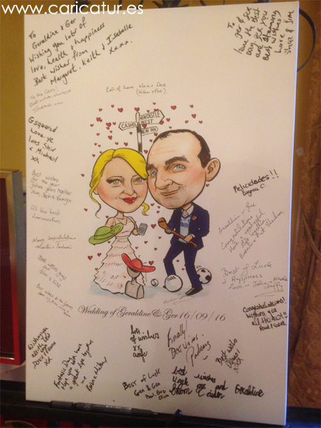 Wedding caricature of milliner and GAA player