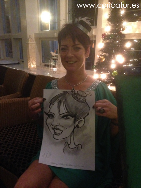 Woman with live caricature by Allan Cavanagh in Westwood Hotel Galway