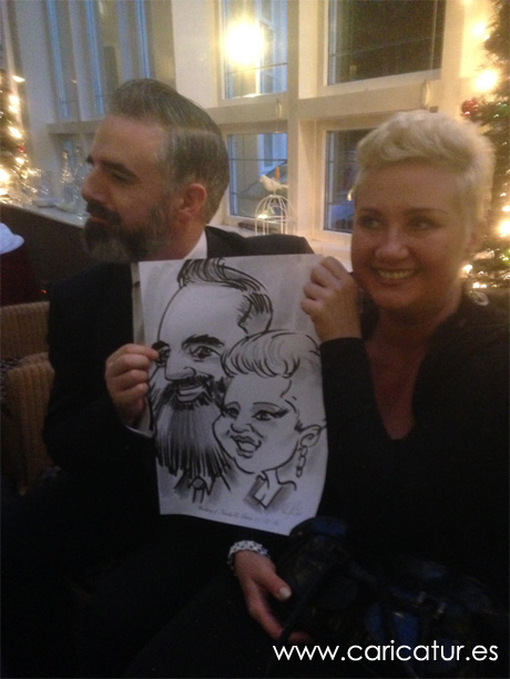 Bearded man and blonde woman with wedding caricature