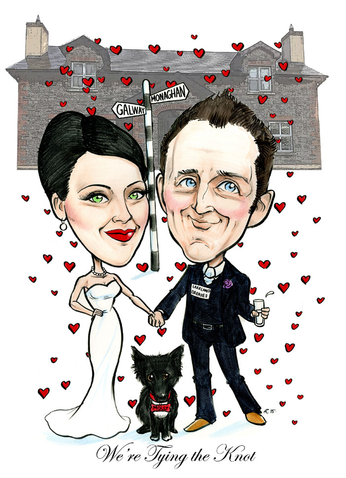 Cartoon of a couple getting married by Allan Cavanagh