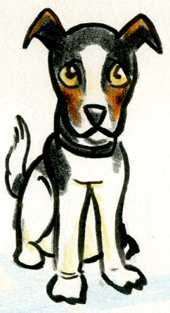 Cartoon of a Jack Russell dog