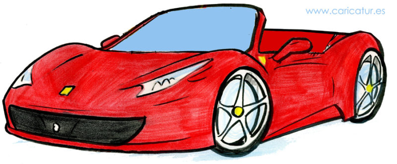 Free cartoon red Ferrari
