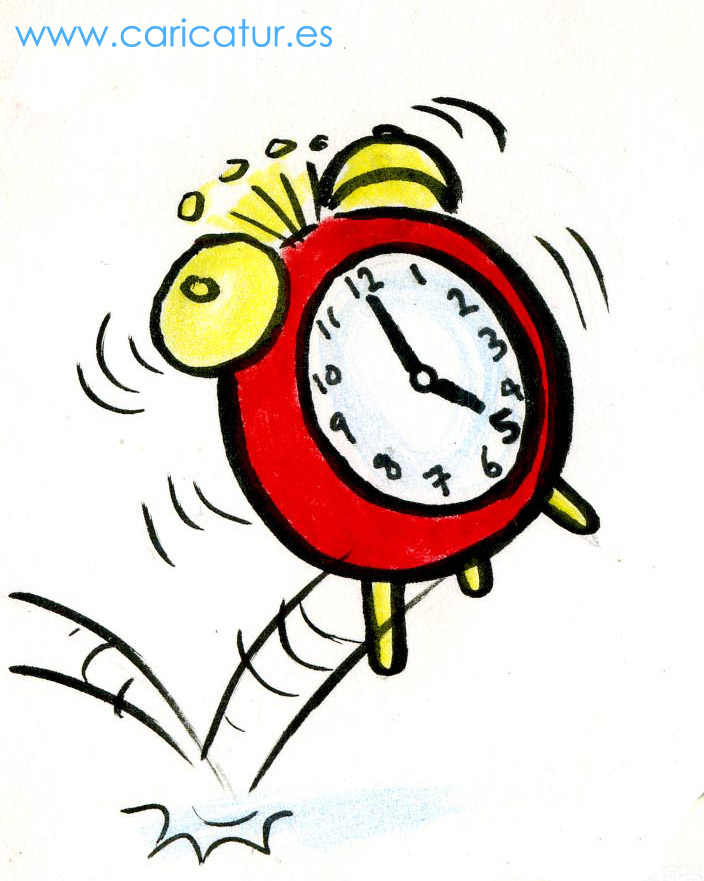 Cartoon jumping alarm clock by Allan Cavanagh