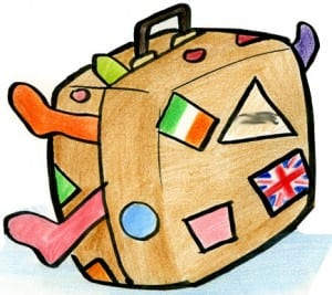 Suitcase Cartoon- Cartoon of a bulging suitcase
