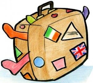 Suitcase Cartoon- Cartoon of a bulging suitcase