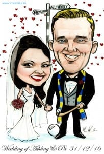 Caricature of newly married couple for a signing board by Irish caricature artist Allan Cavanagh
