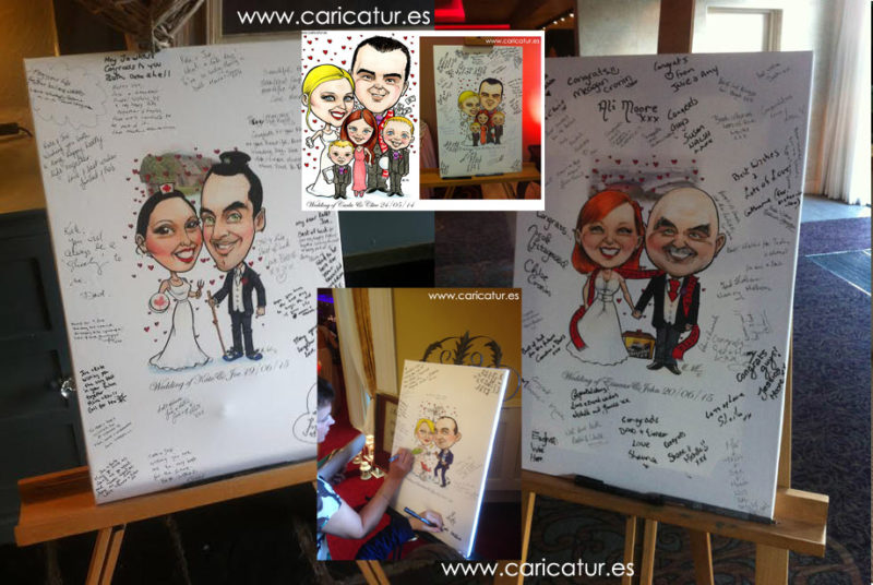 Wedding Signing Boards, caricatures of brides and grooms by Caricature Artist Allan Cavanagh